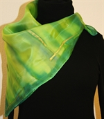 Square Hand Painted Silk Scarf in Green