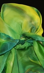 Square Hand Painted Silk Scarf in Green - 2