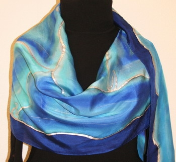 Beautiful Blizzard Hand Painted Silk Scarf in Blue