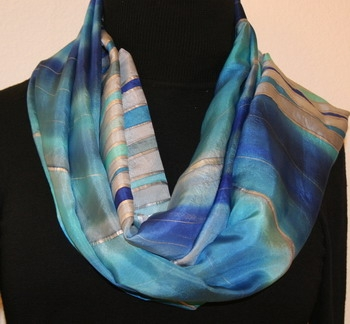 Colorado Winter Hand Painted Silk Scarf in Blue and Silver Gray