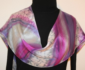 Rainbow of My Heart Hand Painted Silk Scarf in Pink, Violet and Gray