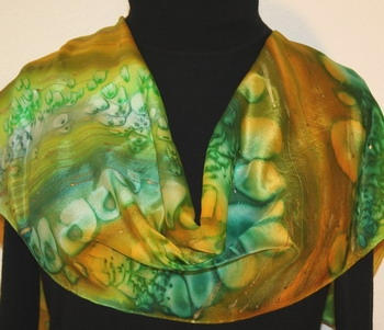 Stormy River Hand Painted Silk Scarf in Green and Terracotta