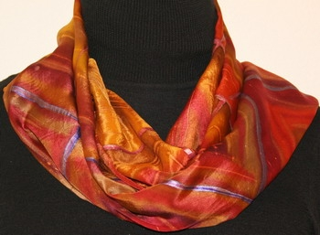 Tartan of Love Hand Painted Silk Scarf in Brown and Ocher