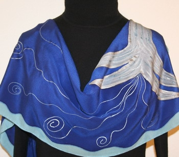 Silver Touch Hand Painted Silk Scarf in Blue and Gray