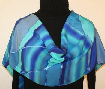 Scandinavian Lakes Hand Painted Silk Scarf in Hues of Blue