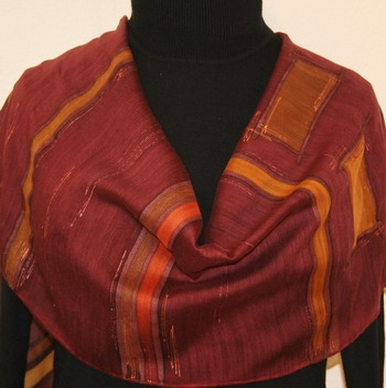 New Orleans Embrace Silk-Wool Hand Painted Scarf in Burgundy and Terracotta