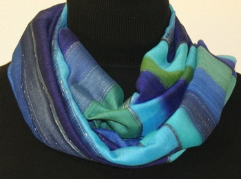 Atlantic Blues Silk-Wool Hand Painted Scarf in Blue and Green