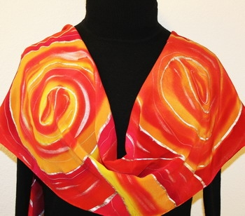 Circles of Love Hand Painted Silk Scarf in Orange, Red and Fuchsia