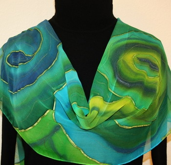 Joy of Spring Hand Painted Silk Scarf in Green and Blue