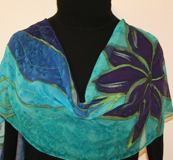 Amazon Lily Hand Painted Silk Scarf in Blue and Teal