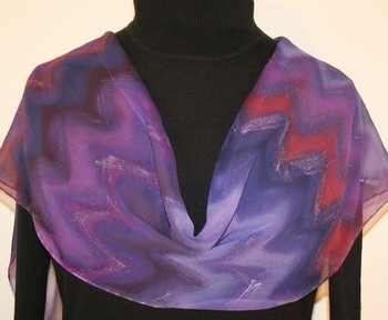 Sunset Dance Hand Painted Silk Scarf in Purple and Lavender