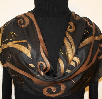 Black and Bronze Hand Painted Silk Scarf