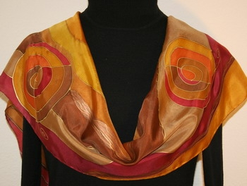 Golden Rivers Hand Painted Silk Scarf in Brown and Burgundy