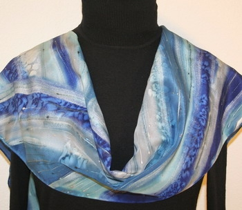 Sea Storm Hand Painted Silk Scarf in Blue and Silver Gray