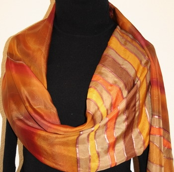 Red Canyon Hand Painted Silk Scarf in Brown and Burgundy