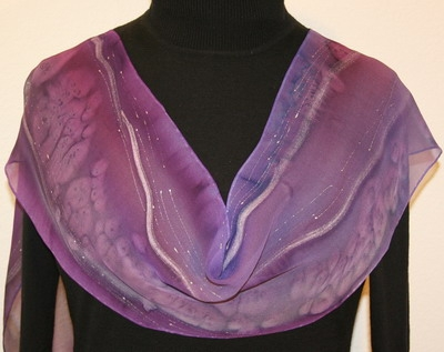 Amethyst Dream Hand Painted Silk Scarf