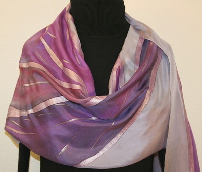 Purple Feathers Hand Painted Silk Scarf in Lavender and Purple