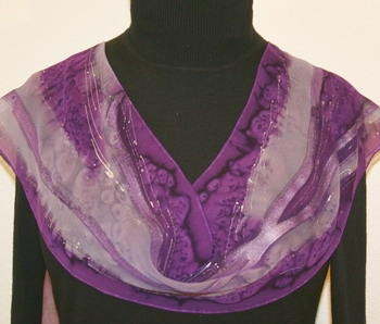 Lavender Fields Hand Painted Silk Scarf in Purple and Lavender