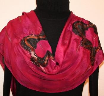 Arabian Dance Hand Painted Silk Scarf in Black Cherry