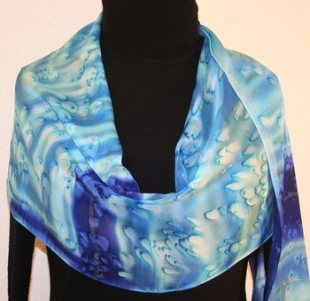 Blue Lagoon Hand Painted Silk Scarf in Blue and Turquoise
