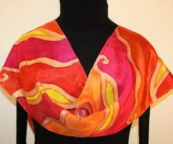 Whispering Flames Hand Painted Silk Scarf in Red and Orange