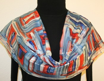 Downtown Blues Hand Painted Silk Scarf in Blue, Red and Silver