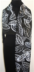 Silver Leaves Hand Painted Silk Scarf in Black, Gray and Silver