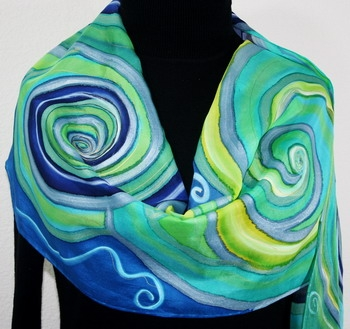 Spring Dreams Hand Painted Silk Scarf in Green, Turquoise and Blue