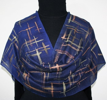Lights in Rain Silk-Wool Hand Painted Scarf in Royal Blue and Navy Blue