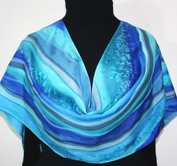 Sail Away Hand Painted Silk Scarf in Blue and Turquoise