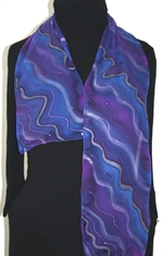 Lavender Creek Hand Painted Silk Scarf in Purple and Lavender