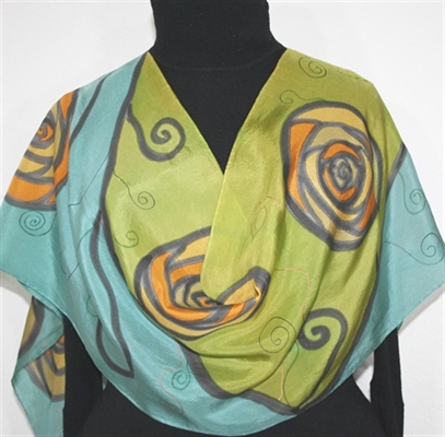 Charm Roses Hand Painted Silk Scarf in Antique Green and Dark Olive
