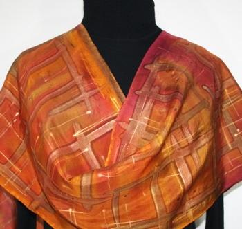 Desert Wonders Hand Painted Silk Scarf in Terracotta, Brick Red and Orange