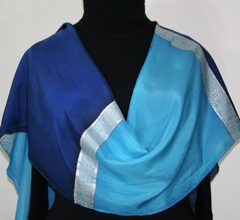 Caribbean Cool Hand Painted Silk Scarf in Turquoise Blue and Sapphire Blue