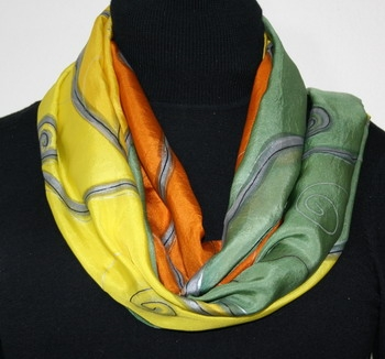 Wind Dance Hand Painted Silk Scarf in Antique Green and Yellow