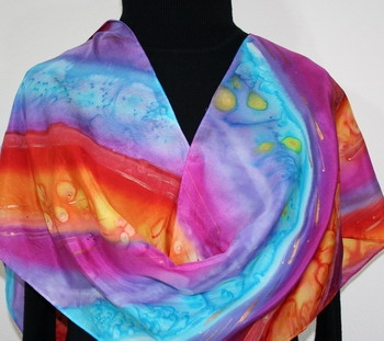 Silk Scarf Hand Painted Gypsy Rainbow in Red, Purple and Turquoise