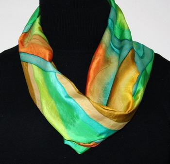 Silk Scarf Spring Sunshine Hand Painted in Green, Orange and Yellow