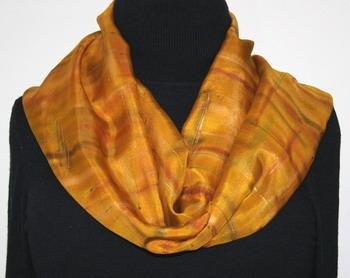 Arizona Gold Hand Painted Silk Scarf in Golden Terracotta