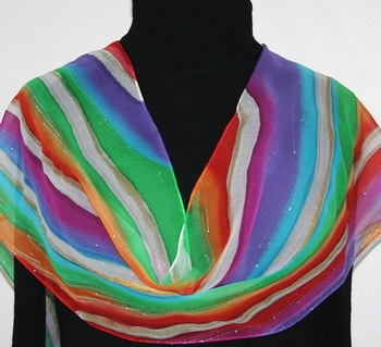 Rainbow Waterfall Hand Painted Silk Scarf in Red, Purple and Blue