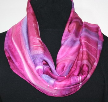 La Vie en Rose Hand Painted Silk Scarf in Pink, Fuchsia and Purple
