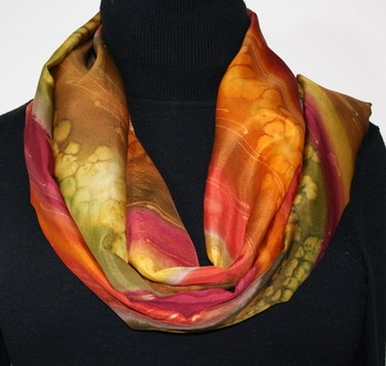 Indian Prairie Hand Painted Silk Scarf in Red, Brown and Green