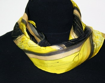 Canary Dream Hand Painted Silk Scarf in Yellow and Black