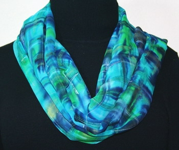 Tropical Seas Hand Painted Silk Scarf in Turquoise and Teal