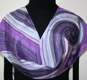 Purple Storm Hand Painted Silk Scarf in Purple and Lavender