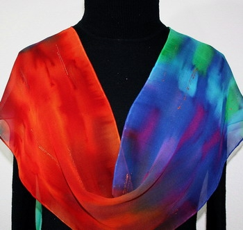 Neon Flames Hand Painted Silk Scarf in Red, Turquoise and Purple