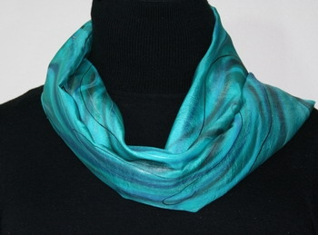 Ocean Breeze Hand Painted Silk Scarf in Turquoise