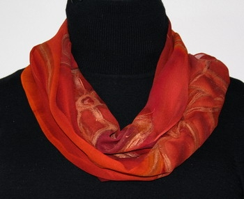 Sunset Flowers Hand Painted Silk Scarf Red Terracotta and Dark Orange