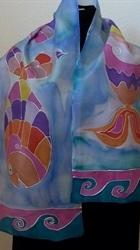 Three Fish Blue Silk Scarf