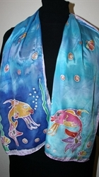 Two Fish Blue Silk Scarf