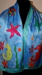 Sea Life Blue Silk Scarf